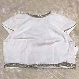 TOBI White Backless Crop Top Size Small